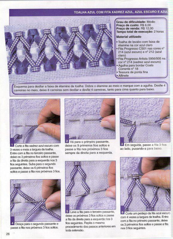 Tutorial Bordado: Toallas bordadas con cintas Shades of Blue