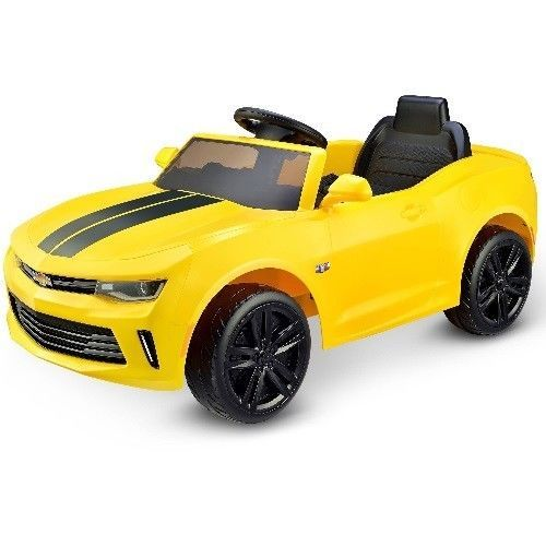 Battery Powered Kids Ride On Toy Car Camaro RS Racing 6V Sound Effects Yellow #BatteryPoweredKidsRideOnToyCar