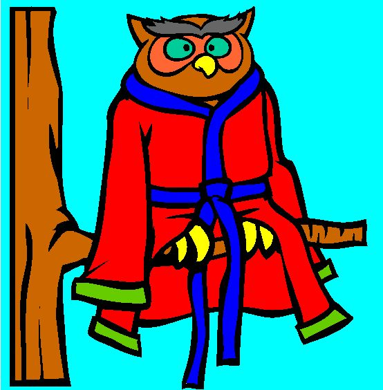 owl in bathrobe coloring page