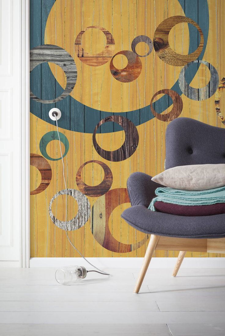 Round And Round It Goes! Wooden Veneer In 60s Retro Chic Style. (