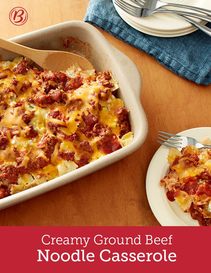 Simple ingredients come together in this comforting casserole that's sure to be a family favorite. You can even use wide egg noodles or mafalda pasta instead of farfalle pasta. Heat things up by stirring in ½ teaspoon crushed red pepper into beef mixture.