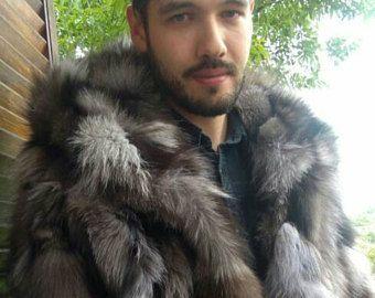 Herren neu! Echte natürliche dunkleren Ton SILVER FOX mit Kapuze Fell Kurzjacke!