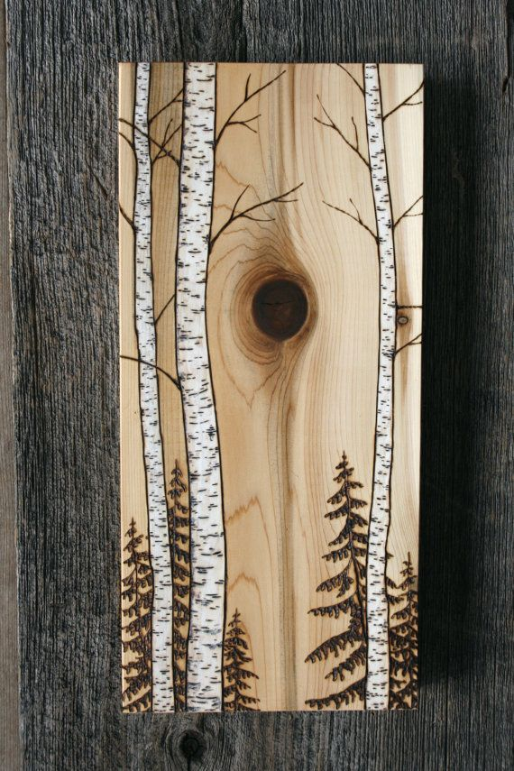 These beautiful birch trees have been burnt into a unique piece of salvaged cedar wood and finished in walnut oil to enhance the wonderful grain