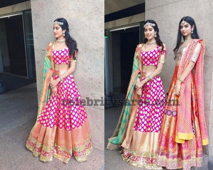 Sridevi Daughters in Manish Malhotra Lehengas