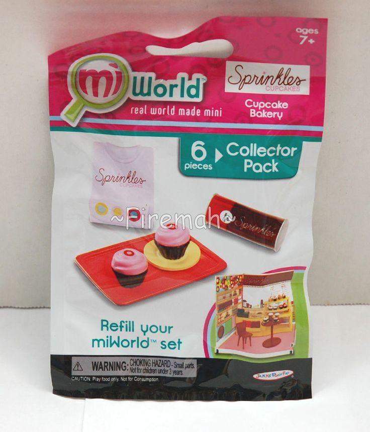 MIWORLD MINI PLAYSET REFILLS 6 PC SPRINKLES CUPCAKE BAKERY STORE MI WORLD REAL