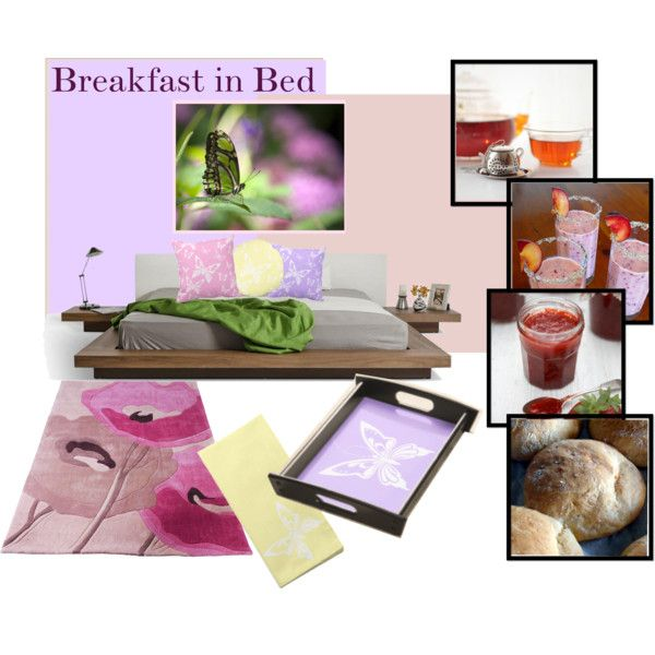 Breakfast in Bed by fallforit on Polyvore featuring home decor, breakfast tray and cloth napkin by #KBMDesigns #pastels #butterfly http://www.zazzle.com/fallforit*?tc=pin