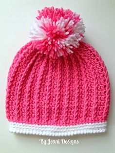 By Jenni Designs: Ribbed Toddler Hat Pattern - Free Crochet Pattern