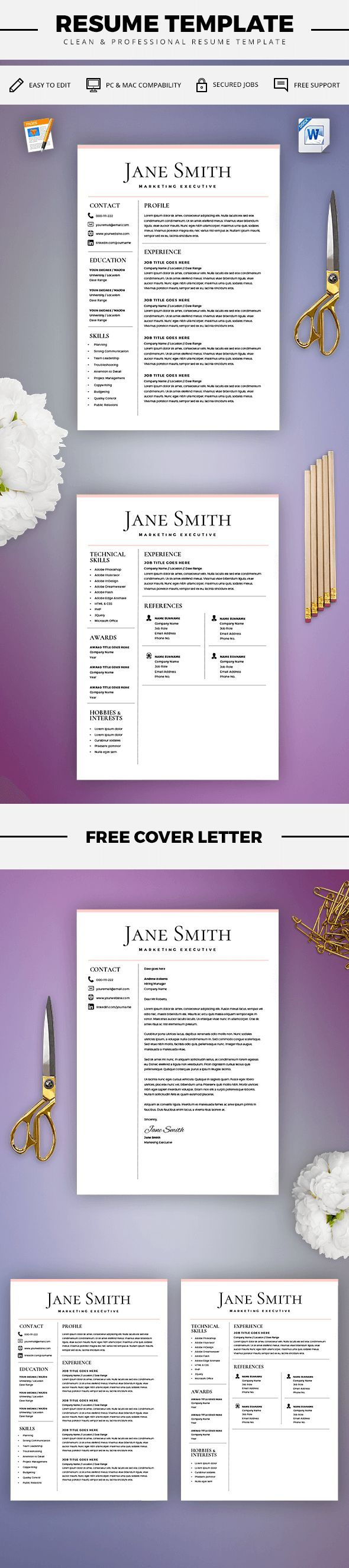 Resume Template - CV Template + Cover Letter - MS Word on Mac / PC - Design - Professional - Best Resume Templates - Instant Download
