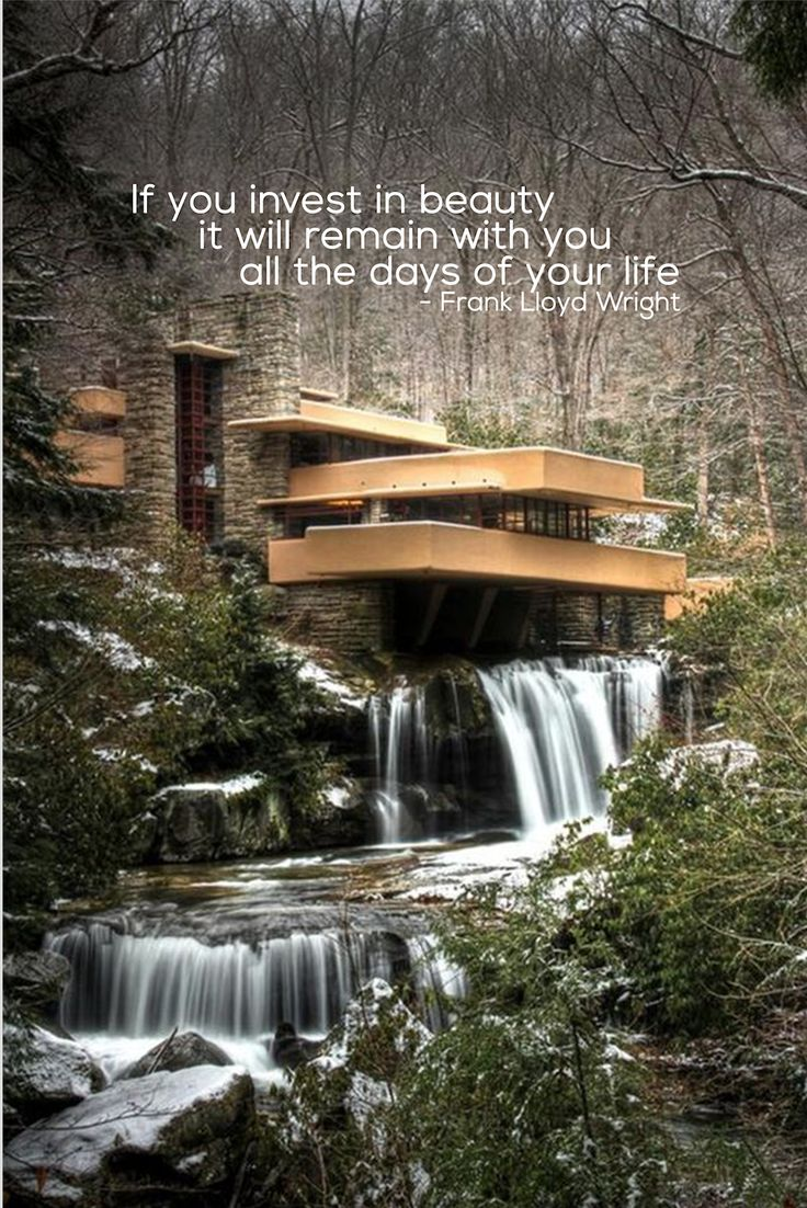Fallingwater home by Frank Lloyd Wright #ModernArchitecture #Motivation