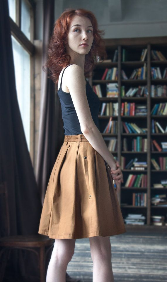 Women Midi Skirt  /  Sport Military Brown by ExlibrisClothing