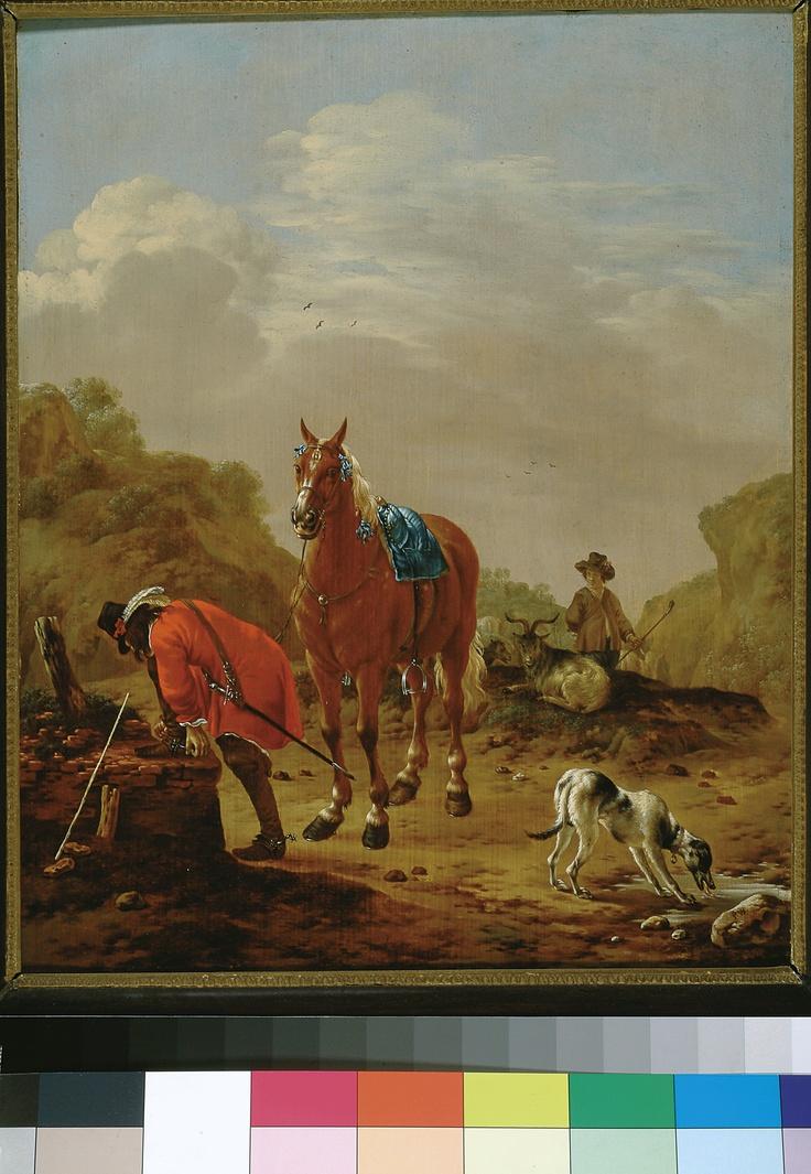 Pieter Cornelisz. Verbeeck, Landschap met afgestegen ruiter (Landscape with dismounted rider),  1630/54 (collection) #franshalsmuseum #horse #art #painting