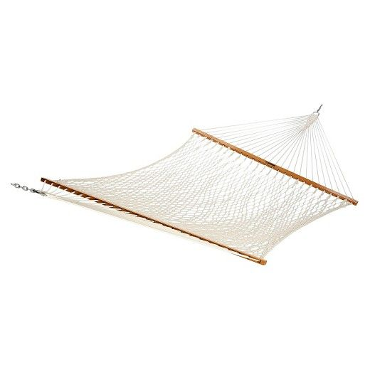 Hail to the chief of luxurious relaxation with the Pawleys Island Presidential Cotton Rope Hammock. Made with a sturdy cotton rope, the Hammock offers comfortable seating for up to three people and has oak wood bars on each end to prevent tangling. Weather resistant and cleaned using soap and water, the Rope Hammock hooks easily to a hammock stand (sold separately). Bring some comfort and style to your backyard!