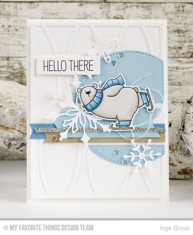 Polar Bear Pals Stamp Set and Die-namics, Horizontal Snow Drifts Cover-Up Die-namics, Stylish Snowflakes Die-namics, Stitched Arch STAX Die-namics, Blueprints 7 Die-namics - Inge Groot  #mftstamps