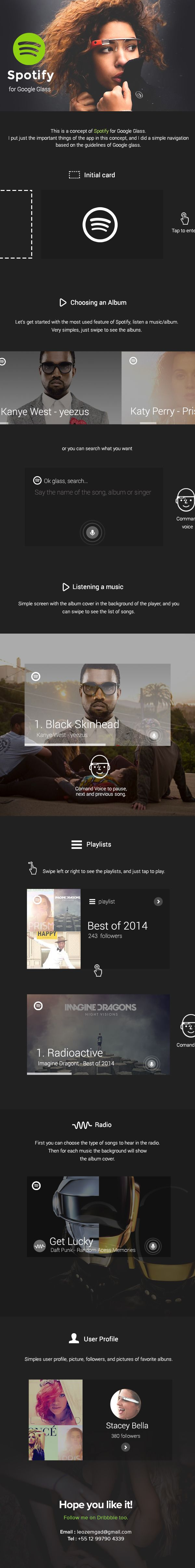 Spotify for Google Glass by Leonardo Zem, via Behance