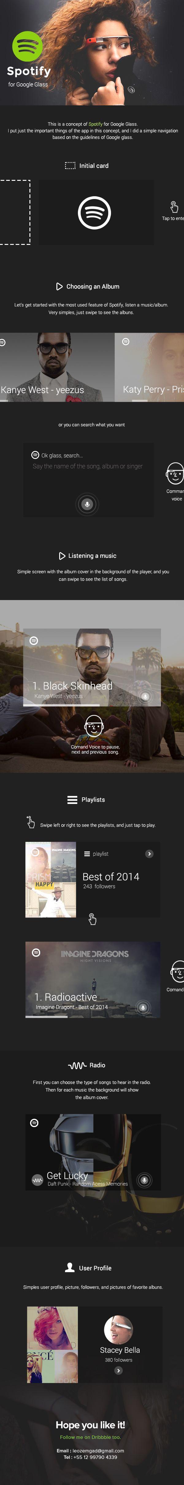 Spotify for Google Glass by Leonardo Zem, via Behance