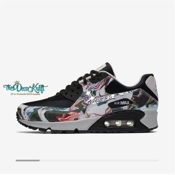 Womens Nike Air Max 90 Ultra Marble Black Vast Grey Black Custom Bling  Clear Crystal Swarovski Sneak d38a75c16d