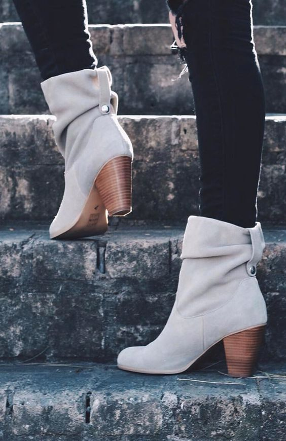 slouchy heeled bootie