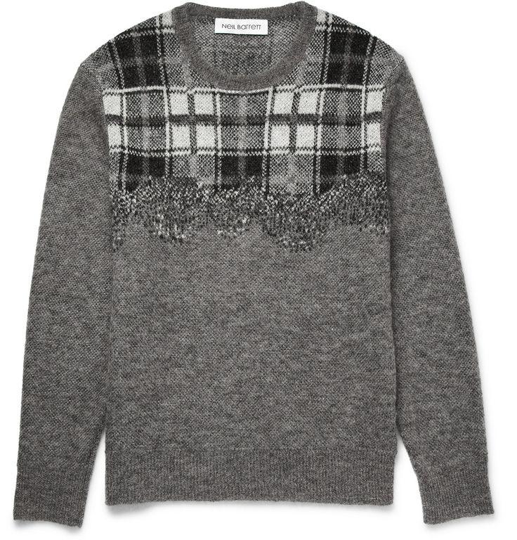 Neil Barrett - Checked Knitted Sweater MR PORTER