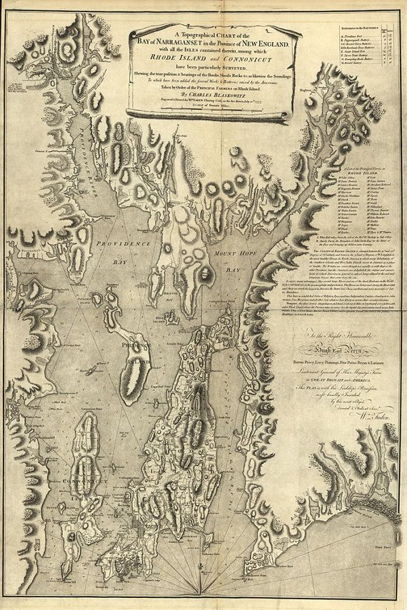 1777 Map of Narragansett Bay by AtomicPhoto on Etsy, $70.00