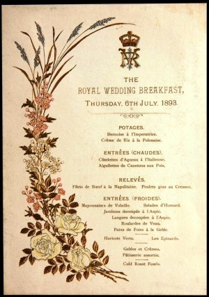 Victoria Queen of the United Kingdom Menu dated: 6th July 1893 Royal Wedding B…