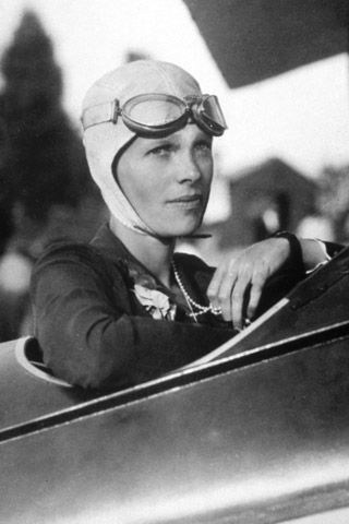 Amelia Earhart.   In 1932 Earhart—with her leather jacket, scarf and close-cropped hair—became the first female aviator to fly a solo transatlantic flight, redefining expectations of women along the way. Though the 39-year-old disappeared in 1937 during a flight around the world, she still serves as a reminder of female fearlessness. - Amy Spencer, Glamour Magazine 2009