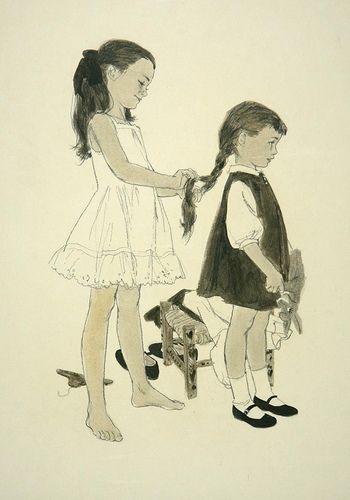 'Sisters' - Barbara Briggs Bradley | Female Illustrators of the Mid-20th Century: Barbara Bradley (1927 - 2008)