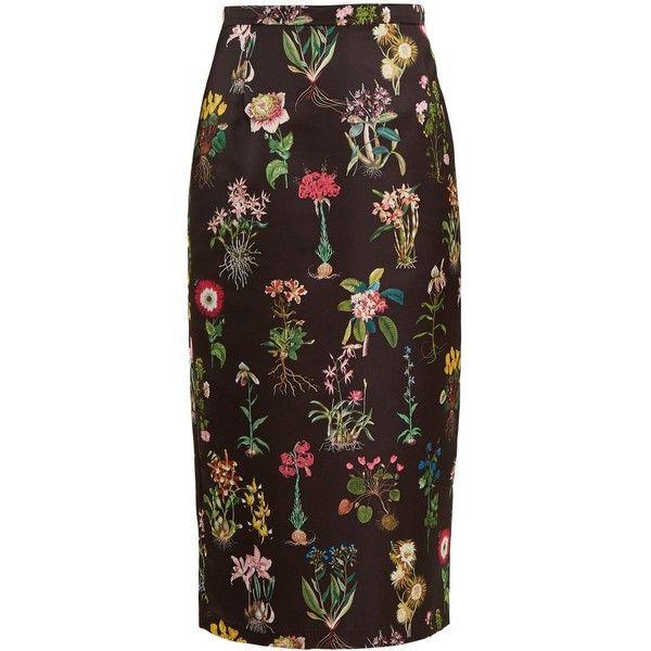 No. 21 Botanical-print duchess-satin pencil skirt ($316) ❤ liked on Polyvore featuring skirts, black print, pencil skirts, high-waist skirt, high-waisted pencil skirts, floral knee length skirt and high waisted knee length skirt