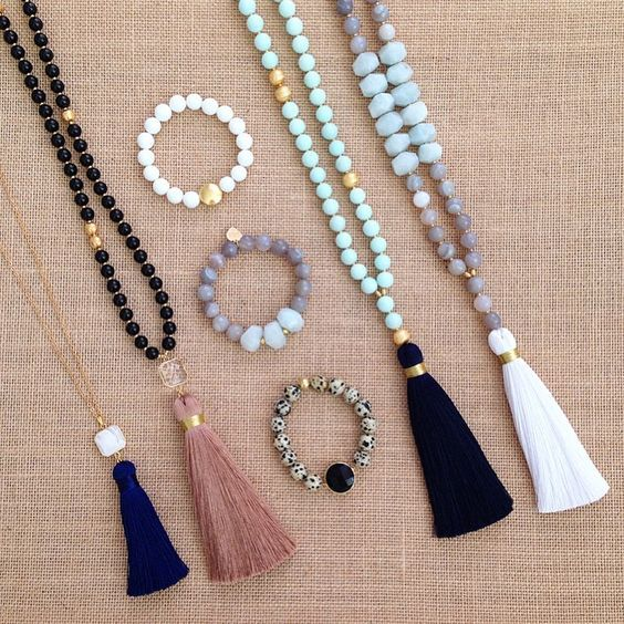 """• • Insta Sale • • A-G from left to right {price includes 20% off and free shipping (domestic only) A - White Pendant & Navy Tassel - $35/42"""" B - Black Onyx & Bronze Tassel - $64/42"""" C - White Agate & Gold Coin Bead - $20 D - Grey Agate & Blue Aqua Marine - $24 E - Dalmatian Jasper & Black Pendant - $22 F - Light Blue Jade & Navy Tassel - $64/42"""" G - Grey Agate & Blue Aqua Marine"""