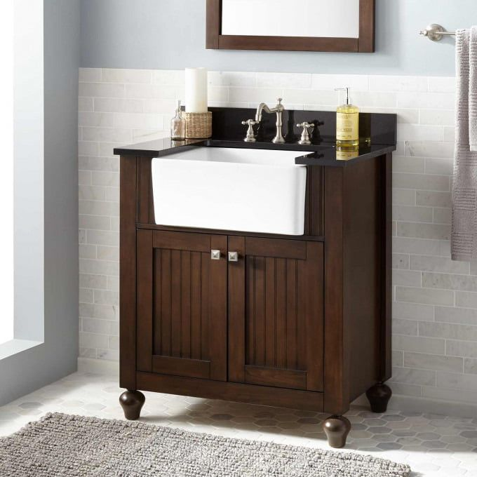 30 Narrow Depth Taren Bamboo Vessel Sink Vanity Bathroom