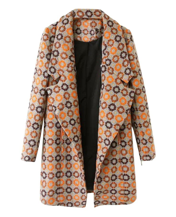 Oversized-collar Patterned Md-long Coat | BlackFive