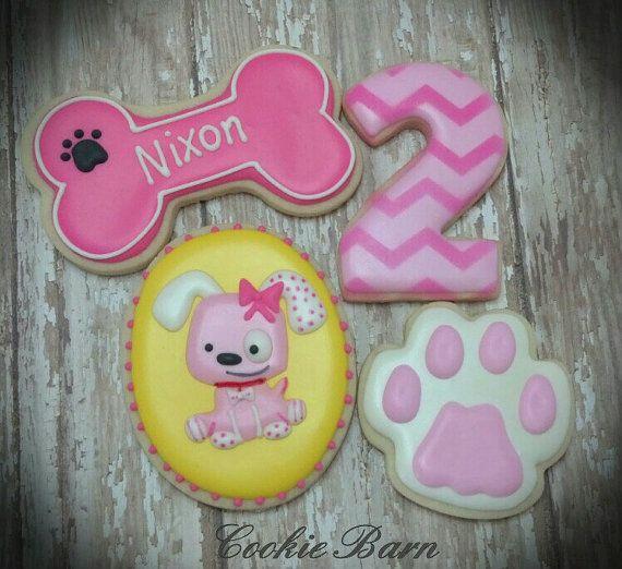 Girl Pink Puppy Dog Birthday Custom Decorated Sugar by CookieBarn, $33.25