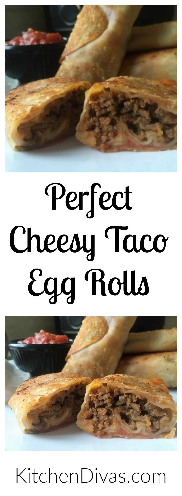This is a variation of an old favorite of ours, Bacon Cheeseburger Egg Rolls. These Taco Egg Rolls can be made as spicy as you want, or need. Any ground meat works great. I love them with a combination of ground beef and ground pork. The onions, peppers, refried beans, salsa and cheese make these egg rolls delicious. They are awesome as a snack and so quick and easy to create. They can be fried or baked. Absolutely perfect! https://kitchendivas.com/perfect-cheesy-taco-egg-rolls/