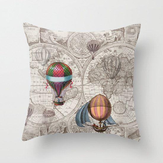 Hot Air Balloon Pillow - Throw Pillow maps , steampunk decor, Vintage Maps, unique, brown ...