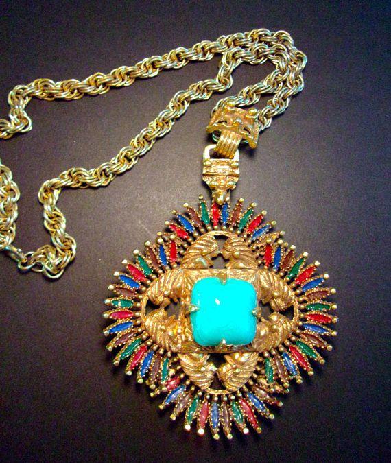 Aztec Pendant Necklace Larry Vrba CASTLECLIFF Turquoise