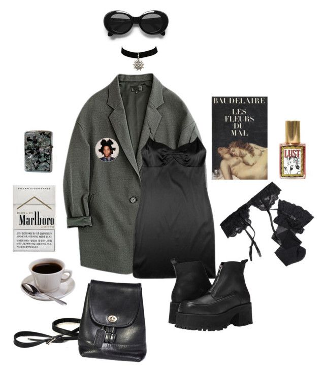 """""""Dreaming of you (Cigarette after sex)"""" by dollhoe ❤ liked on Polyvore featuring Zippo, Acne Studios, JULIANNE, UNIF, Reger by Janet Reger and Baudelaire"""
