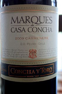 Concha y Toro Marques de Casa Concha Carménère 2009 (to try: love their Cabernet Sauvignon under Sunrise brand; wonder if I like their other wines???)