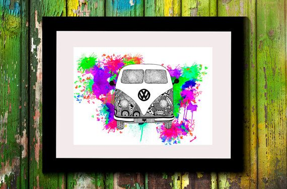 Wall Art, Drawing, Illustration, Zentangle Inspired, Patterns, Art, Print, Home Decor, Modern, Creative, Gift Idea, Kombi, Van, Hippie, Fun
