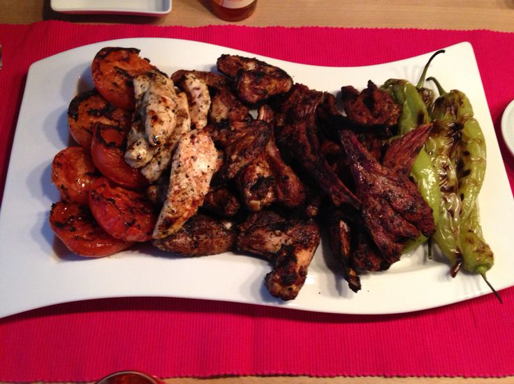 Pirzola and Chicken with BBQ Tomatoes