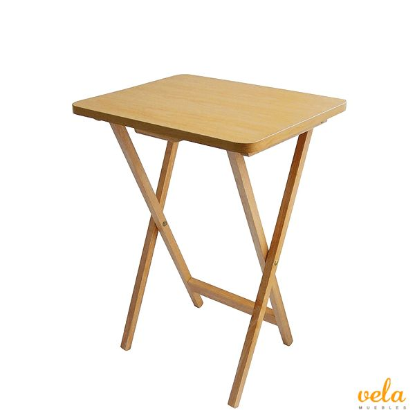 Mesa auxiliar plegable de madera, 49 x 39 x 65 cm, color marrón claro