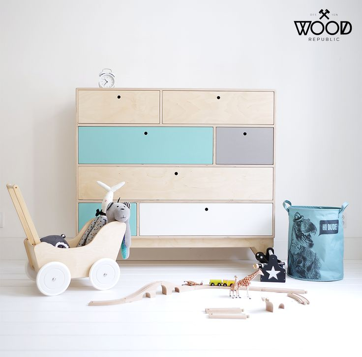 We love designing the children's room in scandi style! Meet our wooden chest of drawers KLOPS with colored fronts. Designed by Wood Republic. / #interior #design #interiordesign #scandi #scandinavian #natural #modern #wood #plywood #birch #customized #minimalist #wooden #baby #babys #kid #kids #kidsroom #child #room #bedroom #wardrobe #drawers #drawer #colored #fronts #children #child #eco #friendly #certificate #pastel #pastelove #ideas #grey #white #mint