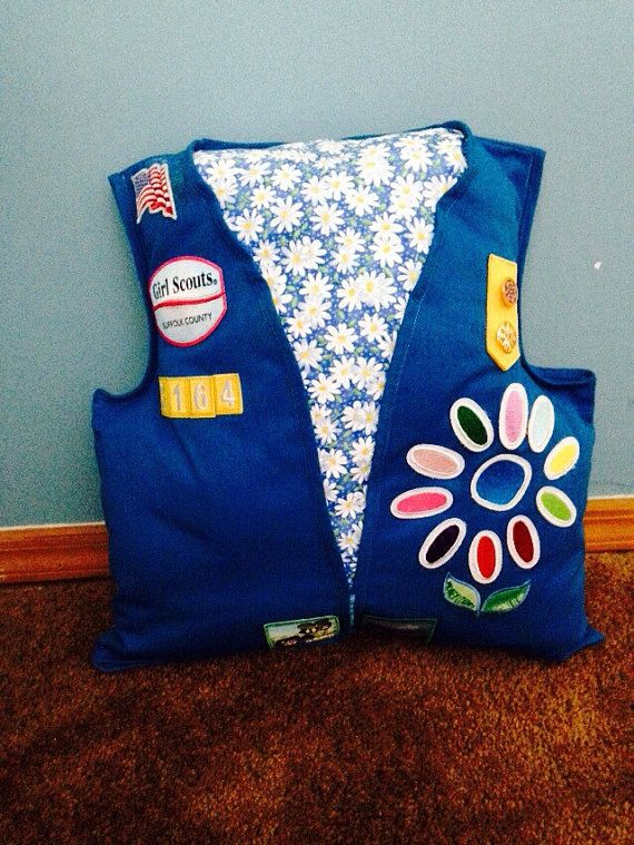 Girl Scout Vest Pillow Keepsake by MommysQuiltsnMore on Etsy