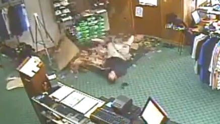 Man falls through ceiling of golf shop, acts like it happens all the time