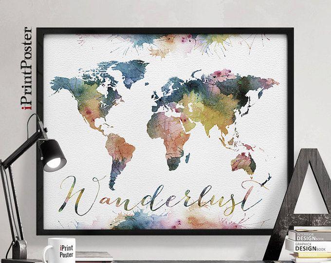 Grande mondo mappa acquerello Push Pin Push pin viaggio mondo