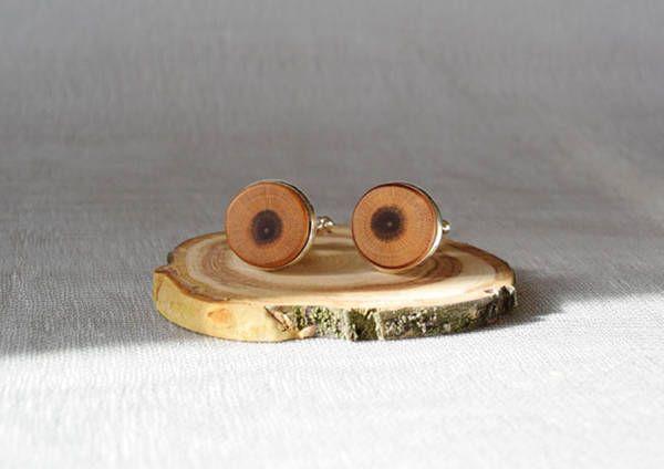 Cufflinks from plum tree, wooden cufflinks, by Mazunii on Etsy