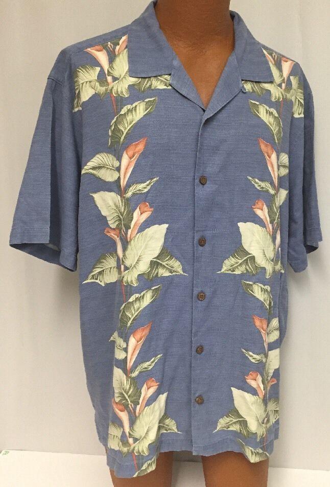 Tommy Bahama Xl Hawaiian Shirt Men 39 S Blue Aloha Silk Camp