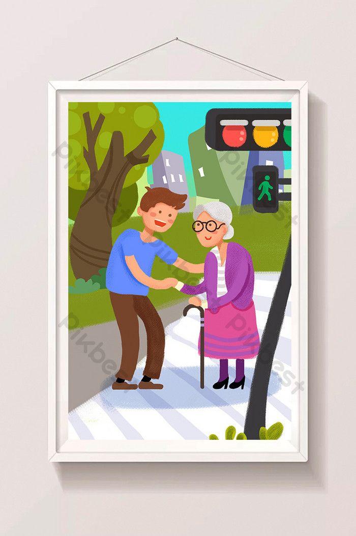 Menghormati Dan Membantu Orang Tua Menyeberang Jalan Di Festival Kesembilan Ganda Ilustrasi Templat Psd Unduhan Gratis Pikbest Illustration Character Fictional Characters