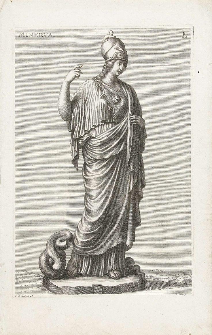 Richard Collin | Minerva, Richard Collin, 1675 - 1680 | Afbeelding van een beeld van de godin Minerva, ook bekend als de Giustiniani Minerva. Minerva staat met haar rechter arm in de lucht. Haar speer ontbreekt.