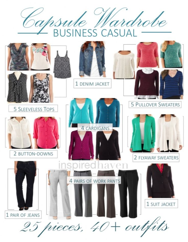 Business Casual Capsule Wardrobe: 25 Pieces, 40