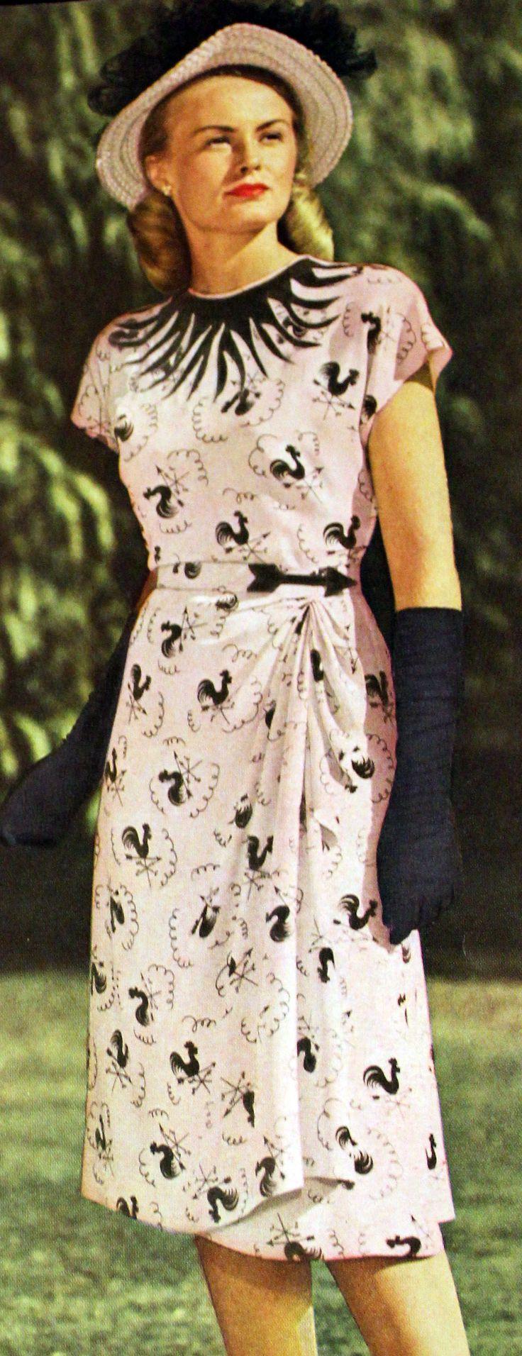 wrap dress 1947…that print, that little arrow!!