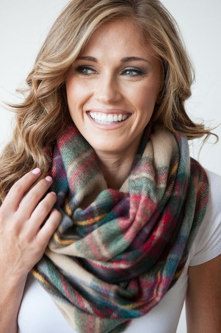 Plaid Infinity Scarf - Khaki/Green $21